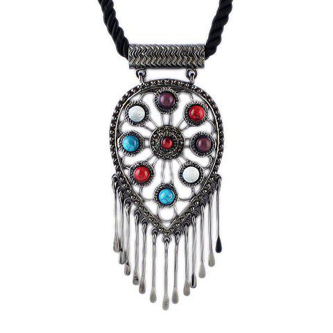 Delicate Secondary Color Gemstone and Tassel Embellished Necklace For Women