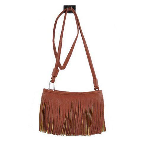 Fashionable Solid Color and Fringe Design Crossbody Bag For Women - BROWN