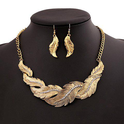 A Suit of Classic Retro Women's Rhinestone Leaf Pendant Necklace And Earrings
