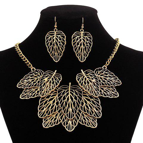 A Suit of Classic Retro Women's Openwork Leaves Pendant Necklace And Earrings - AS THE PICTURE