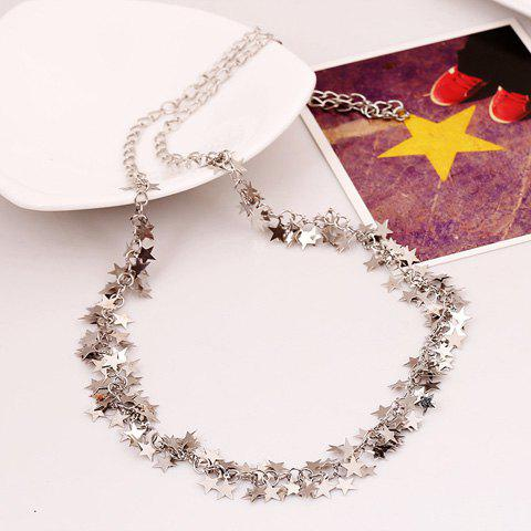 Chic Solid Color Star Shape Sequins Embellished Women's Sweater Chain Necklace - SILVER