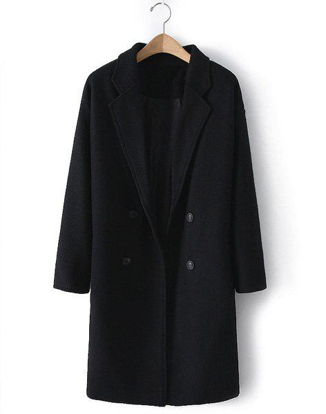 Solid Color Worsted Lapel Neck Double-Breasted Long Sleeves Stylish Women's Coat - BLACK M
