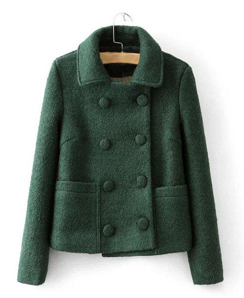 Solid Color Turn-Down Collar Long Sleeve Double-Breasted Worsted Stylish Women's Coat - BLACKISH GREEN L