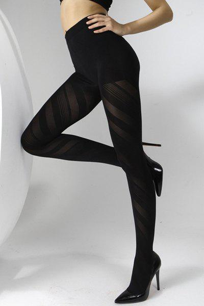 Chic Stripe Pattern Solid Color Women's Pantyhose - BLACK
