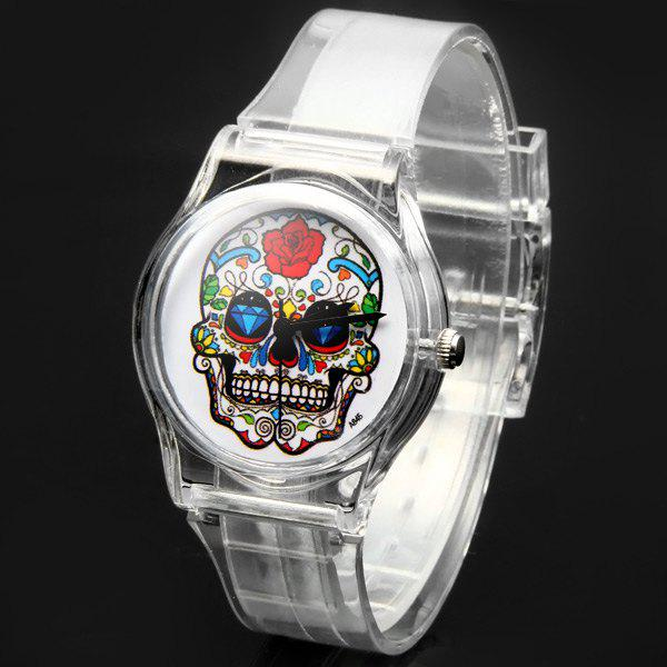 A845 Quartz Watch Skull Round Dial Plastic Strap Lady Wristwatch - TRANSPARENT