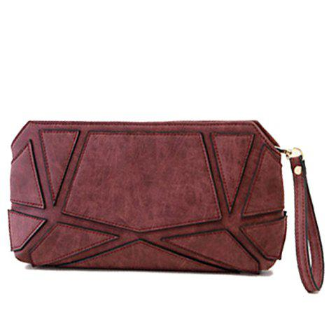 Trendy PU Leather and Geometric Design Clutch For Women - RED