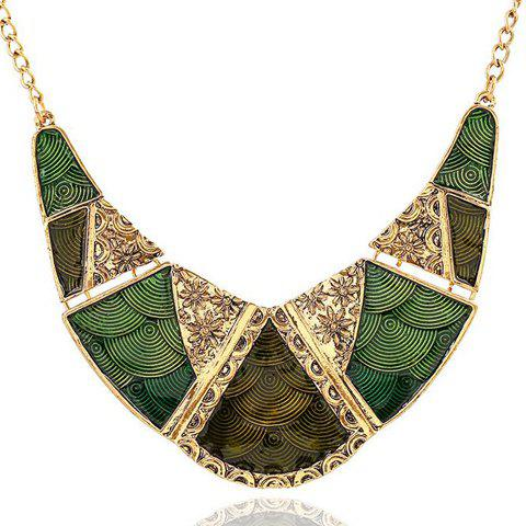 Geometric Shape Flower Print Pendant Necklace - GREEN