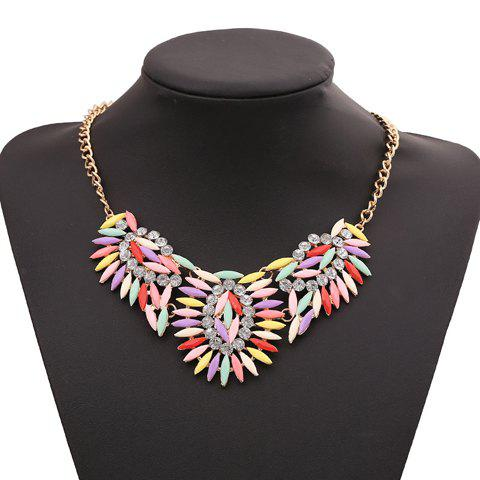 Sparkling Faux Gem Embellished Special Shape Pendant Women's Necklace - COLORFUL