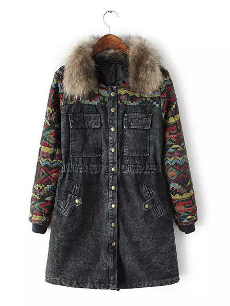 Stylish Knitted Splicing Denim Detachable Faux Fur Turn-Down Collar Long Sleeve Coat For Women