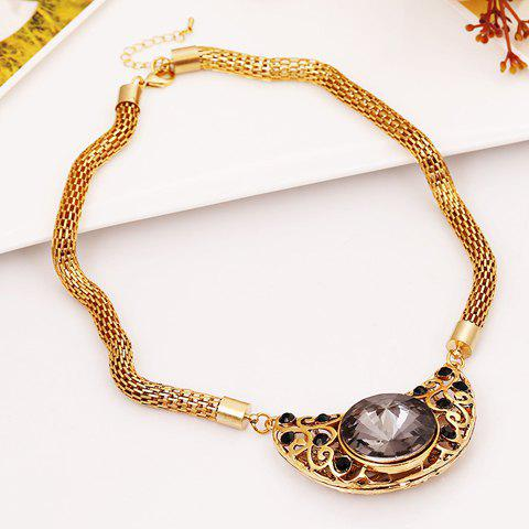 Attractive Gemstone Embellished Moon Pendant Women's Necklace