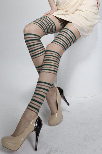 Chic Stripe Pattern Color Block Pantyhose For Women - BLACKISH GREEN
