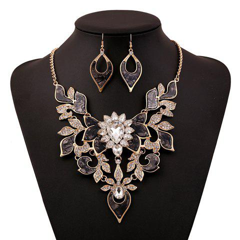 Attractive Rhinestone Embellished Necklace and A Pair of Earrings For Women - COLOR ASSORTED
