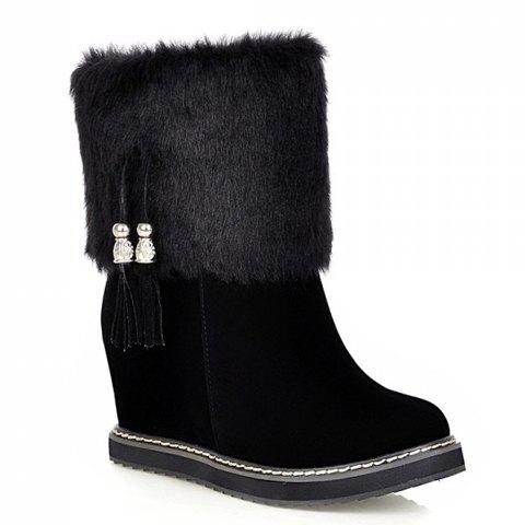 Sweet Faux Fur and Tassels Design Women's Boots - BLACK 38