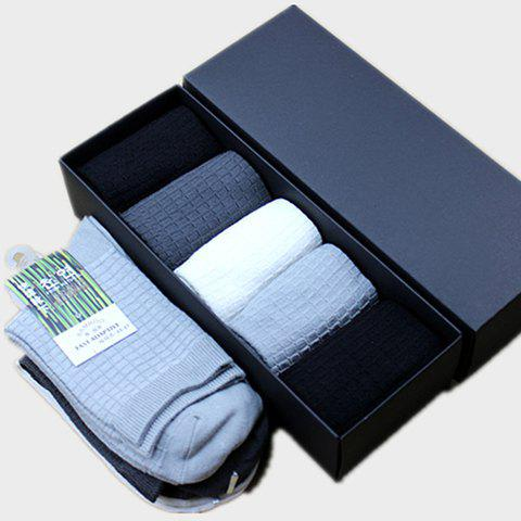 5 Pairs of Chic Rectangle Pattern Bamboo Fiber Socks For Men