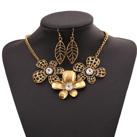 Dolce Flower Openwork Pendant Women's Necklace and A Pair of Earrings - GOLDEN