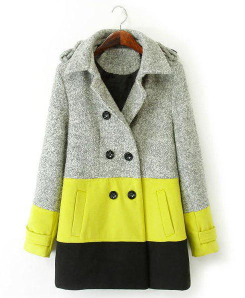 Stylish Color Block Turn-Down Collar Double-Breasted Long Sleeve Thicken Worsted Coat For Women - COLORMIX M