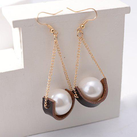 Pair of Attractive Faux Pearl Embellished Women's Earrings -  WHITE