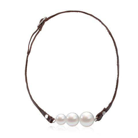 Chic Faux Pearl Embellished Women's PU Leather Necklace