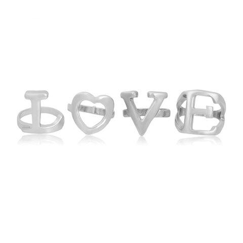 4PCS Chic Solid Color Letter Shape Women's Rings - SILVER ONE-SIZE