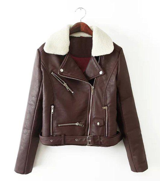 Trendy Style Fleece Lapel Neck Long Sleeve PU Leather Zipper Women's Jacket - BROWN L