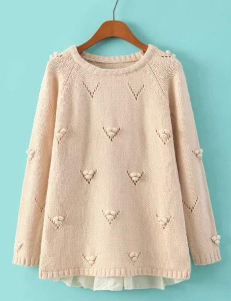 Fashionable Scoop Collar Long Sleeve Lace Splicing Hollow Out Women's Sweater - NUDE ONE SIZE(FIT SIZE XS TO M)