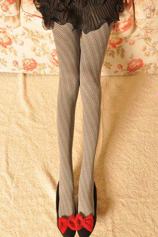 Chic Rhombus and Twill Pattern Pantyhose For Women - GRAY