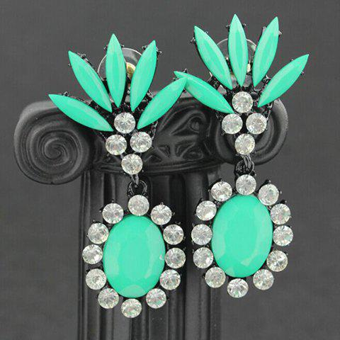 Pair of Rinestone Embellished Oval Drop Earrings - COLOR ASSORTED