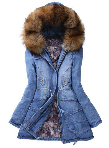 Denim Hooded Parka Coat   - BLUE M