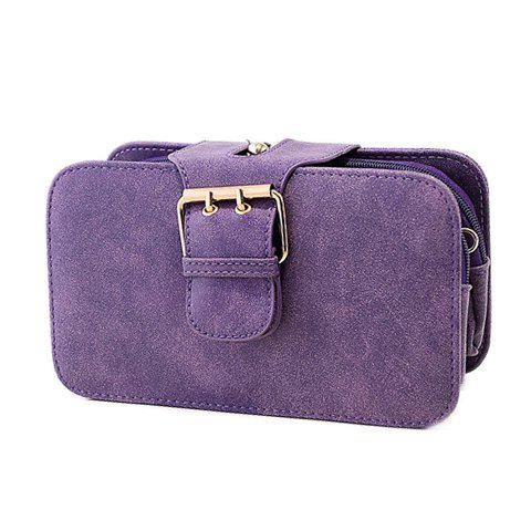 Fashion Suede and Buckle Design Clutch For Women - PURPLE