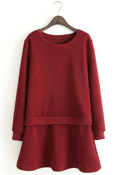 Solid Color Faux Twinset Design Scoop Collar Long Sleeve Fashionable Women's Dress - WINE RED M
