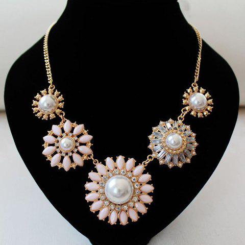 Chic Faux Pearl and Faux Gem Embellished Women's Necklace