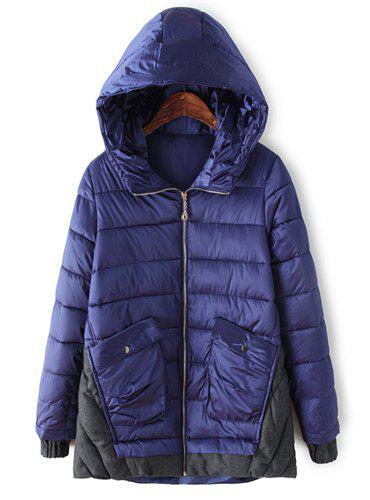 Brief Color Block Hooded Loose-Fitting Long Sleeve Coat For Women - PURPLISH BLUE XL