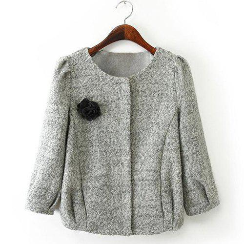 Ladylike Gray Round Collar 3D Rose 3/4 Sleeve Worsted Coat For Women - GRAY M