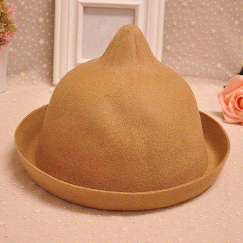Chic Pointed Top and Hemming Design Solid Color Felt Hat For Women