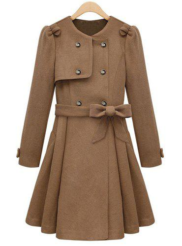 Elegant Solid Color Round Collar Double-Breasted Long Sleeve Worsted Coat with Belt For Women - KHAKI L