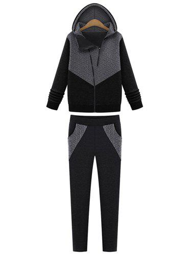 Modern Style Color Block Hooded Long Sleeve Hoodie and Pants Twinset For Women - BLACK XL