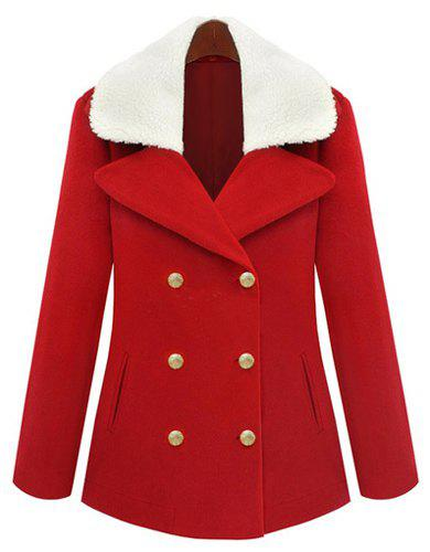 Elegant Turn-Down Collar Red Double-Breasted Long Sleeve Worsted Coat For Women - RED S