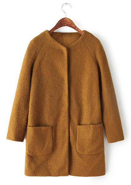 Elegant Khaki Round Collar Mohair Long Sleeve Coat For Women - KHAKI S