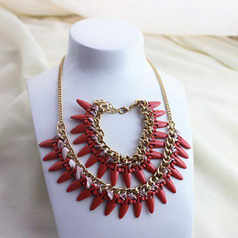 A Suit of Stylish Retro Women's Rivet Beads Design Necklace And Bracelet - AS THE PICTURE
