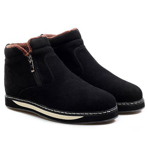 Fashionable Suede and Zipper Design Snow Boots For Men - BLACK 43