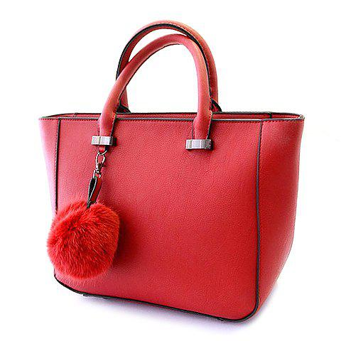 Fashion PU Leather and Splode Design Women's Tote Bag - RED
