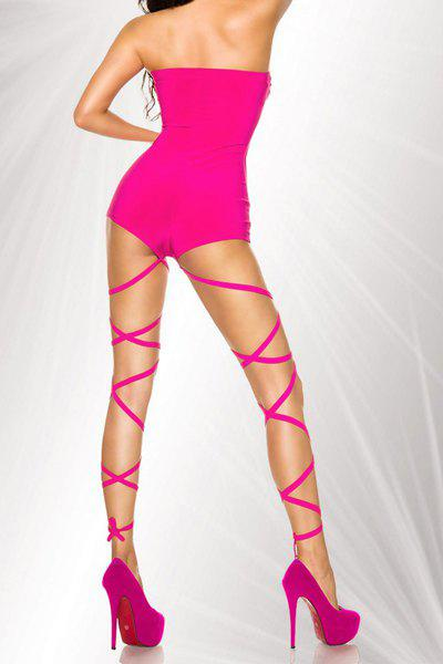 Alluring Strapless Solid Color One-Piece Bandage Women's Swimwear - PLUM M