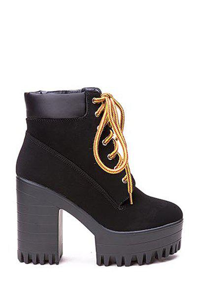 Simple Style Chunky Heel and Lace-Up Design Women's Ankle Boots - BLACK 35