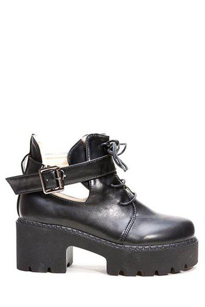 Trendy Buckle and Hollow Out Design Women's Ankle Boots - BLACK 35