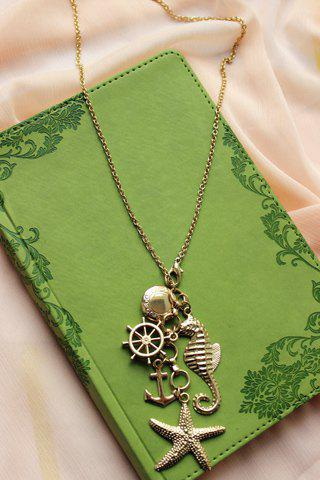 Stylish Retro Women's Starfish Anchor Design Sweater Chain Necklace - GOLDEN