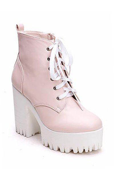 Simple Style Chunky Heel and Platform Design Women's Boots - PINK 35