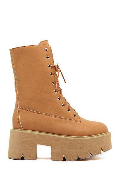 Simple Style Platform and Lace-Up Design Women's Short Boots - BROWN 35