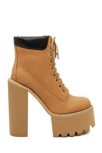 Stylish Splice and Color Block Design Women's Chunky Heel Boots