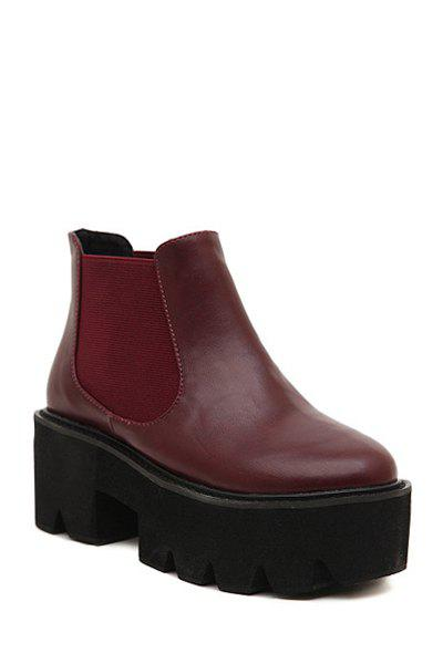 Simple Style Elastic and Chunky Heel Design Women's Ankle Boots - RED 35