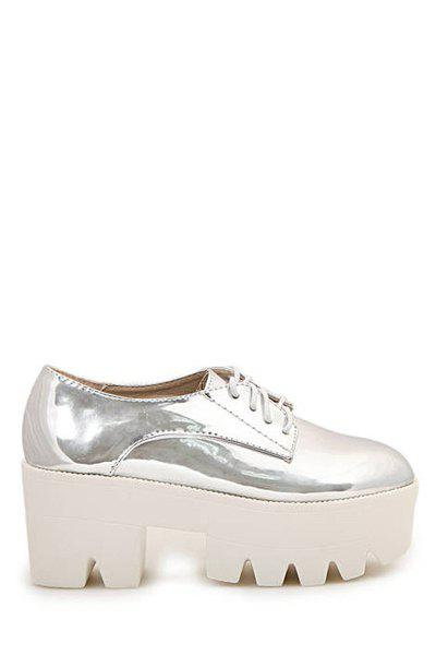 Stylish Silver and Chunky Heel Design Women's Palatform Shoes - SILVER 38
